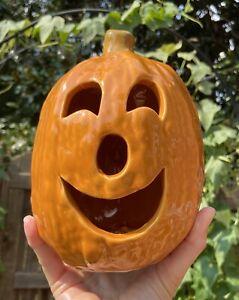 """Vintage McCoy Limited Smiling Jack-O-Lantern Pumpkin Ceramic Pottery 7"""" Votive"""