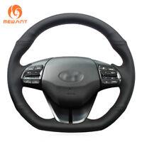 DIY Design Sewing Black Leather Steering Wheel Cover for Hyundai Elantra 4 Ioniq