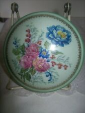 VINTAGE PORCELAIN LIMOGES PALE GREEN WITH FLORAL DESIGN TRINKET/VANITY DISH W/ L
