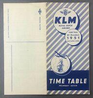 KLM ROYAL DUTCH AIRLINES PRELIMINARY TIMETABLE OCTOBER 1951 K.L.M.