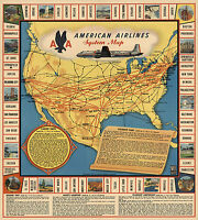 Vintage American Airlines System Map History Wall Art Poster Print Decor Antique