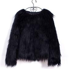 Women's Winter Shaggy Mongolian Faux Fur Open Front Short Jacket Fluffy Coat New