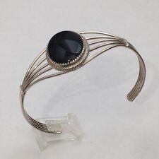 Sterling Silver Navajo Handmade Black Onyx Oval Shape Cuff Bracelet