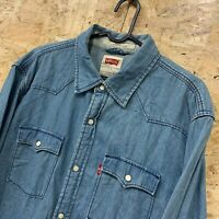 Men's LEVI'S Light Blue Denim Shirt Long Sleeve Cotton Size L Large Modern Fit