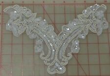 "12 beaded sequins appliques pearl white with clear sequins 10"" x 7"" wholesale"