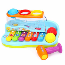 Developmental Baby Musical Xylophone Piano Pounding Bench Kids Balls Hammer toy