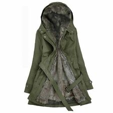 Women Fur Lined Military Trench Coat Thick Hooded Long Belt Slim Jacket Parka