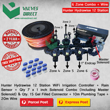 "Hunter Hydrawise 12 Station WiFi Irrigation - Qty7x 1""Solenoid,Rain Sensor &Wire"