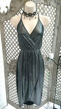 🌹RIVER ISLAND 🌹SEXY LIQUID SILVER SEMI SHEER GRECIAN WIGGLE DRESS UK 10 PARTY