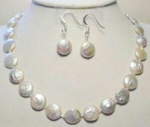 Genuine Natural 11-12mm White Freshwater Coin Pearl Necklace Earrings Set