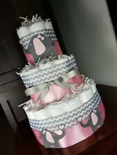3 Tier Diaper Cake - Pink Elephants with Pink and Silver Chevron with Hearts