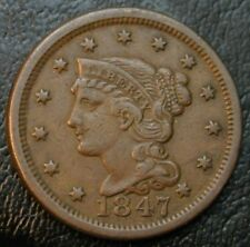 1847 Braided Hair Large Cent XF Extra Fine 1C US Copper Coin