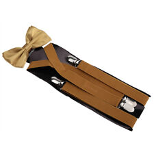 Suspenders Men's clip-on Y back and Bow Tie Retro Steampunk Costume Tux Prom USA