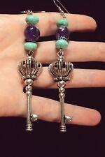 big purple Amethyst turquoise gemstone silver key Queen hearts dangle earrings