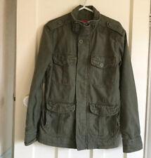 Super Dry Mens' Khaki Green Thick Cotton Military Style Coat Size M