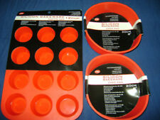 NEW SILICONE CAKE BAKING 3 MOULD SET 2 ROUND and 1 MUFFIN RED