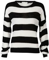 Womens Monochrome Black White Stripe Boxy Jumper Ladies Long Sleeve Jumper Top