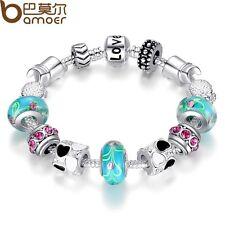 BLUE LOVE DIY Charms Beads Silver Bracelets , Free Gift Box/USA Seller