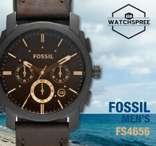 Fossil Machine Mid-Size Chronograph Brown Men's Leather Watch FS4656