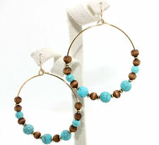 Women's Gold Plated Turquoise Wood Bead Drop Dangle Earrings