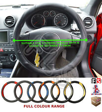 UNIVERSAL BLACK/BLACK 37 TO 39CM FAUX LEATHER STEERING WHEEL COVER-CHE 1