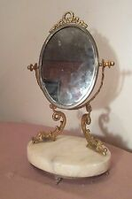 antique ornate gold gilt metal marble dolphin pivoting vanity table oval mirror