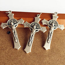 "LOT 3pcs Italy 2"" Crucifix Silver St. Benedict Cross Rosary Part Center Catholic"