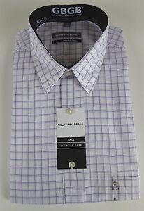 Geoffrey Beene GB Wrinkle Free Point Collar Dress Shirt Wht Purple Plaid NWT $59