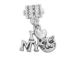 I Love My Cat Heart Pet Kitten Dangle Bead fits Silver European Charm Bracelets
