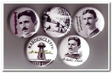 NIKOLA TESLA Buttons Pins Badges science inventor electricity physicist engineer