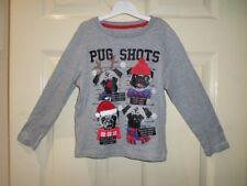 George Kids Unisex Grey Pug Shot Long Sleeve T-Shirt Size 5-6 Years