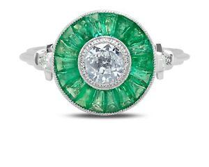 Emerald Gemstone Diamond Platinum Ring Antique Finish Art Deco Baguette Round