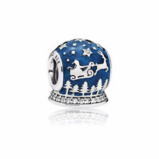 New Authentic Pandora Charms Christmas Night Charm, Midnight Blue Enamel & Clear