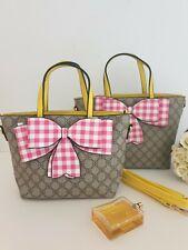 Women's Set Of  2 Designer Monogram Bold Gingham Pink Bow TOTE Bags Handbags