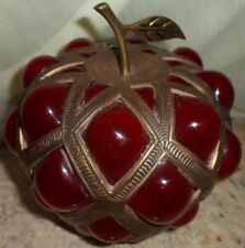 """Paperweight Brass Red Glass Apple Table Decoration Tea LIght Display Figurine 7"""""""