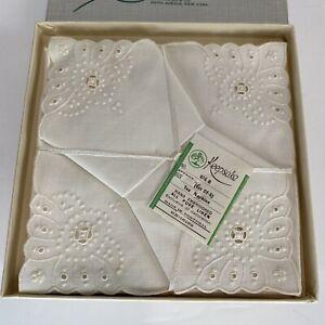 Vintage K Katen Keepsake Linen Embroidered Tea Napkins Set Of 6 Fifth Ave NY