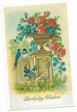 Vintage Greetings Postcard Birthday Wishes Blue Birds Roses Lillian Vernon 1992
