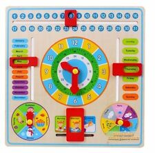 Educational Wooden Calendar Toy Clock Date Weather Chart Kids Clever Toddlers