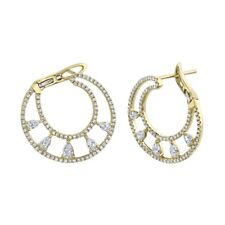 14K Yellow Gold Diamond Hoop Earrings Unique Round Pear Cut Natural 1.08 CT