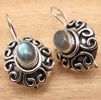 HANDMADE DESIGNER JEWELRY Natural LABRADORITE Gems Earrings , 925 Silver Plated