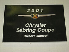 2001 Chrysler Sebring Coupe Owners Manual User Guide Reference Operator Book
