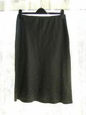 BNWOT - LADIES BLACK LINEN SKIRT WITH GOLD BEADING DETAIL - SIZE 10-12