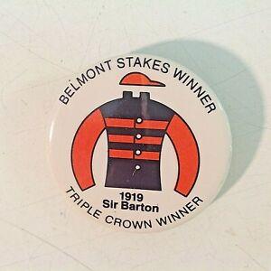 Vintage Promo Novelty Button Pinback Belmont Stakes Triple Crown Sir Barton 1919