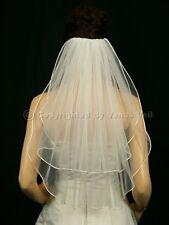 Handmade 2T Ivory Bridal Shoulder Short Length Rattail Edge Wedding Veil
