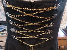 Miederkette, Dirndlkette,Metallkette, Gliederkette, Farbe gold, 1,6 m lang,