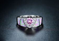 Sevil 18K White Gold Plated Created Pink Opal Trillion-Cut Cubic Zirconia Ring