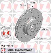 Disque de frein avant ZIMMERMANN PERCE 150.1280.52 BMW 7 E38 750 i,iL 326ch