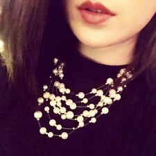 Fashion Women Strand Faux Pearl Multi Layer Tassel Bib Statement Choker Necklace