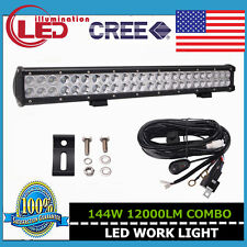 22Inch 144W CREE LED WORK LIGHT BAR COMBO SUV FOG DRIVING OFFROAD JEEP WIRING 23