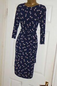 Phase Eight navy stretchy vintage 40s 50s dove print wiggle wrap dress sz 18